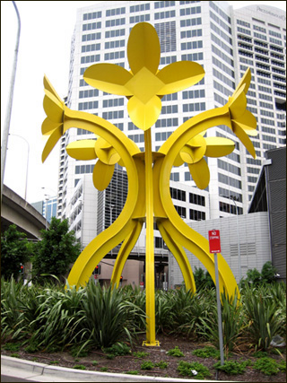 Big Metal Flowers Painted Yellow